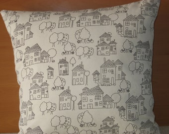 "Printed linen cushion cover Linen 100%  pillow cover Throw pillow - 40 cm x 40 cm (16"" x 16"")"
