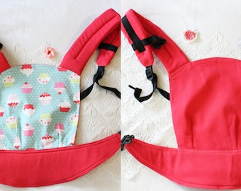 FREE SHIPPING/ by Bagy™ Cupcakes Reversible Doll Carrier Stripes/ soft structured/ by Bagy collection/ best gift for girls
