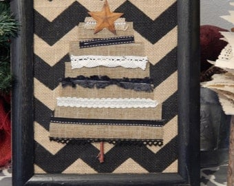 Framed Burlap and Ribbon Tree