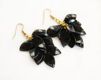 Coworker gift Black cluster earrings Fall earrings Leaf earrings Bead dangle earrings Boho Fluffy Holiday earrings Girl gift bridesmaid