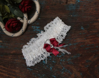 Brides Wedding Garter - With Hand Made Bow - Red Wedding Garter (All Colours Available)