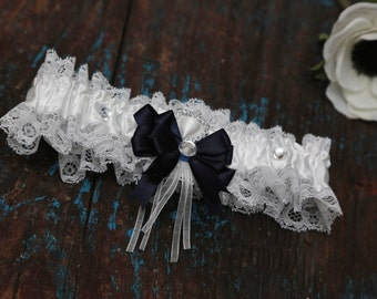 Navy Blue Wedding Garter (All Colours Available) - Bridal Garter - Lace Garter - With Hand Made Bow - White Wedding Garter