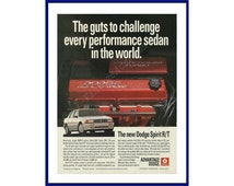 """DODGE SPIRIT R/T Automobile Original 1992 Vintage Color Print Advertisement """"The Guts To Challenge Every Performance Sedan In The World."""""""