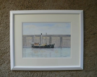 An Original framed Watercolour of The Barbary T at Watchet Harbour Somerset