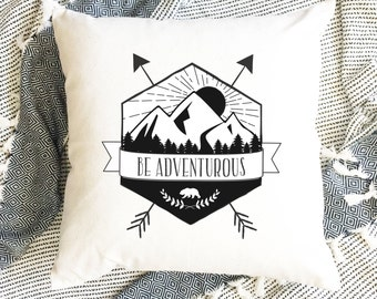 Be Adventurous Retro Badge Pillow