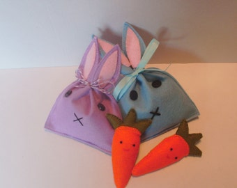 Rabbit bag with carrot brooch