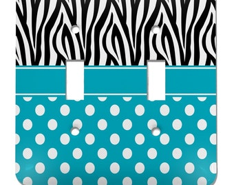 Dots & Zebra Light Switch Cover (2 Toggle Plate)