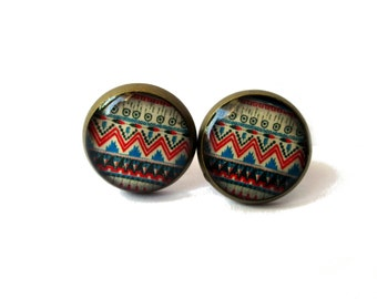 aztec stud earrings - tribal geometric jewelry - blue / RED - gift for her