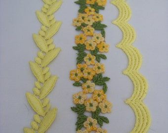 Vintage 3 piece Yellow and Orange Trim 3454