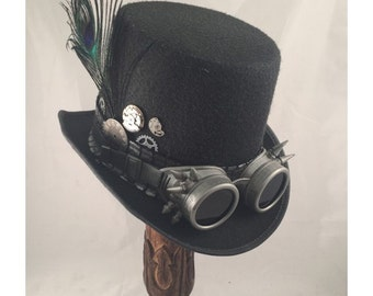 STEAMPUNK TOP HATS, Steampunk Shop, Steampunk Outfits, Black Top Hat , Spiked Silver Goggles