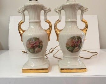 "Pair Of Vintage Fragonard M. Langbroek  Signed Lamps ""Courting Couple"" Design"