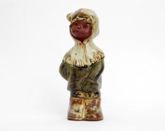 Vintage Boy Figurine // Art Pottery Boy Statue // Winter Figurine Child in Snow Parka
