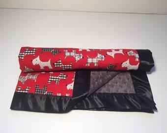 Silly Scottie Dog Minky Baby Blanket - Satin Trim Blanket - Toddler Blankie - Baby Shower Gift - Security Blanket - Stroller Blanket