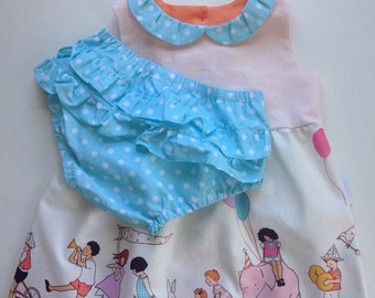 My 1st Birthday Dress - Michael Miller Parade.  Last one! Reduced!!