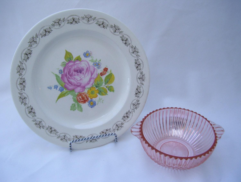 3-Royal-China-Dinner-Plates-22K-Gold-Rose- & 3 Royal China Dinner Plates 22K Gold Rose and Floral in Center Daisy ...