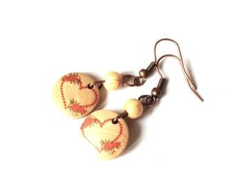 earrings love letter wood