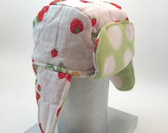 Strawberry Lumberjack Earflap Kids Hat - newborn to 6 months