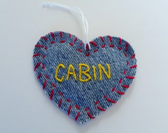 Recycled Denim Embroidered Heart Ornament, CABIN , Hang Tag, Gift Tag or Applique