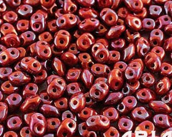 NEBULA CORAL RED: SuperDuo Two-Hole Czech Glass Seed Beads, 2.5x5mm (10 grams)