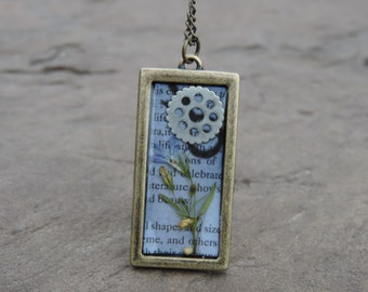 Pressed Flowers and Pages Resin Necklace