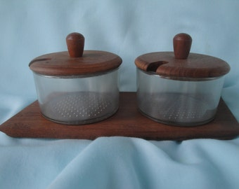 2 Bowl Condiment Set With Caddy/Danish Wood Set/Relish Caddy