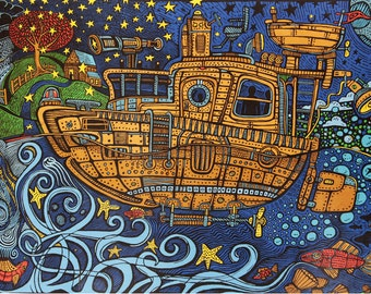 Psychedelic Steampunk Tugboat Tapestry