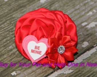 Be Mine Dog Collar Accessory for Valentine's Day, Flower Collar Accessory, Bow, Bow Tie