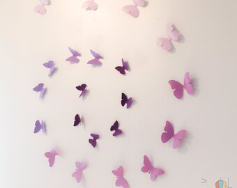 Butterfly Decal, Wall decor, Nursery decor, Party decor,  Stage Decor, Wedding Decor, Paper Decal, Purple Butterfly, shades of Purple