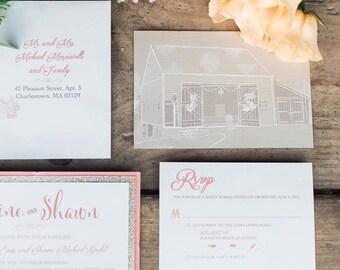 Rustic Glam Wedding Invitation, Farm Wedding Invitation, Barn Sketch Invitation