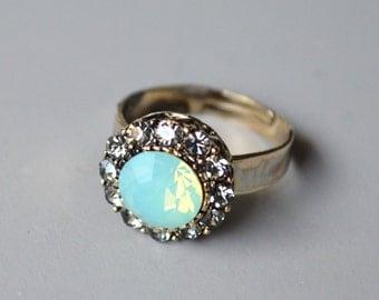 Green opal crystal ring