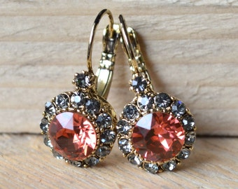 Light red crystal earrings
