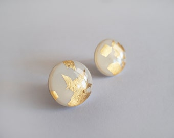 Large White gold and 23k Gold  Round Stud Earrings - Hypoallergenic Titanium Posts