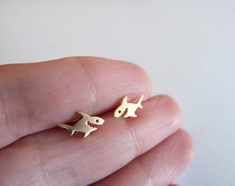 Tiny Shark Stud Earrings - Gift for her