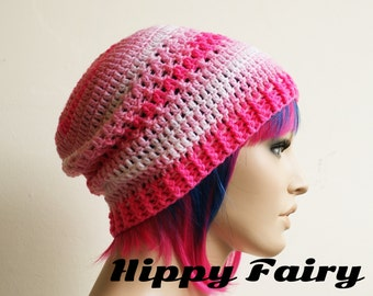 Ombre Pink pastel beanie hat.