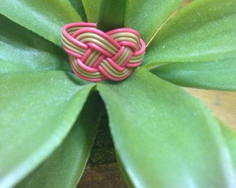 Tan/Red Recycled Telephone Wire Ring. Size 7