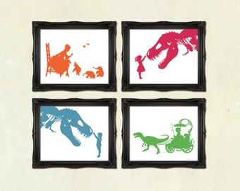 Art Print DISCOUNT SET - Buy any 4 prints of Victorian Steampunk art prints silhouettes or collages Nursery