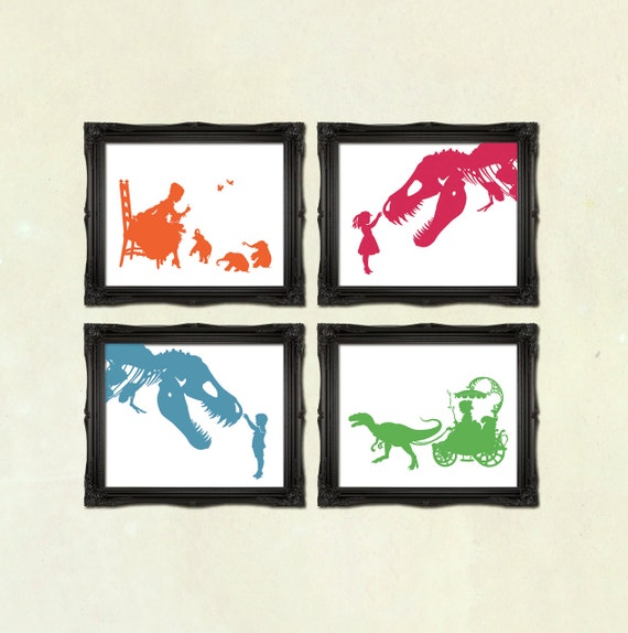 DISCOUNT SET - Buy any 4 prints of Victorian Steampunk art prints silhouettes or collages Nursery