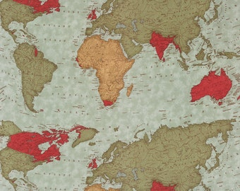 Moda Passport World Map Globe Multi Color  3 Sister's Fabric BTY 1 Yd