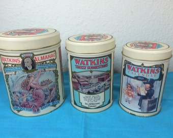 SALE! Watkins Canister Set *FREE SHIPPING*  Decorative Tin Canister Set • Anniversary Set