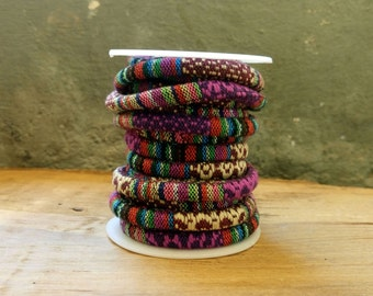 Purple Brown Multi Ethnic Cotton Cord 6,5mm approximately, 92cm/1yard