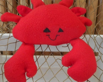 Red crab plushie, crab softie, crab toy,small crab toy, coastal living, whimsical small crab, smiling crab, ocean liv