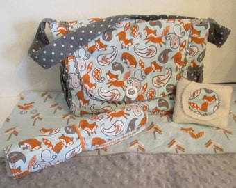 Baby Doll Diaper Bag with Blanket, Diaper Changing Pad and Wipes