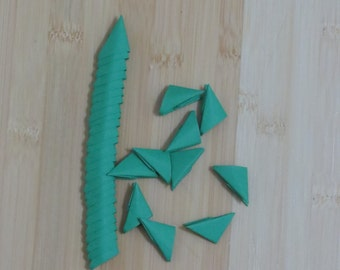 250pcs Folded paper, 3D Origami Triangles, Modular Pieces, Green Color Paper