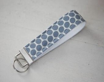 gray dots on white key chain. Key chain Fob. key chain wristlet