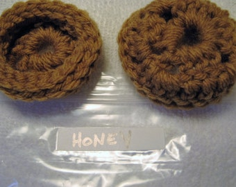 HONEY Ear Pads, Ear Cookies, Ear Cushions for Phone Headset, Call Center, Hand-crochetted, NEW.