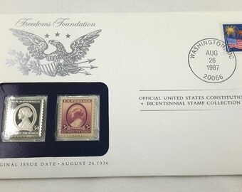 Susan B Anthony Stamp, Mailing Envelope, Franklin Mint Silver Ingot Bicentennial Collection