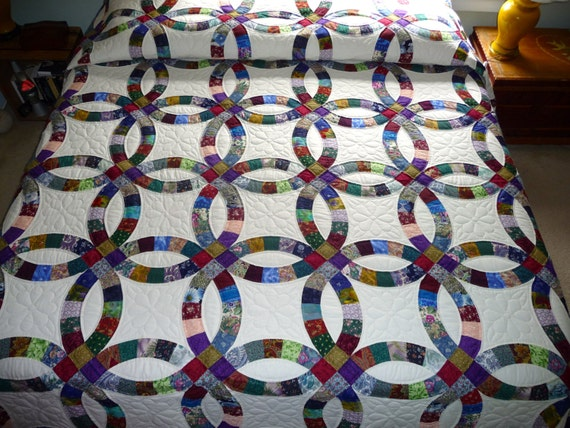 Amish Double Wedding Ring Quilt By Quiltsbyamishspirit On Etsy