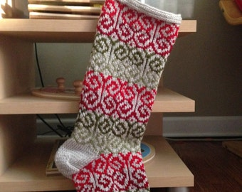 Curly Cues Christmas Stocking - Handknit Red, Green, White