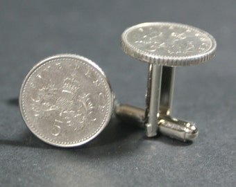 5 Pence Coin Cufflinks British Free gift bag