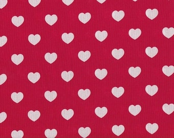 Cotton red and white heart 20mm